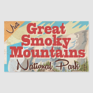 Great Smoky Mountains Travel Poster. Rectangular Sticker