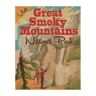 Great Smoky Mountains Travel Poster. Wood Print
