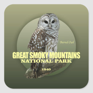Great Smoky Mtns NP (Barred Owl) WT Square Sticker