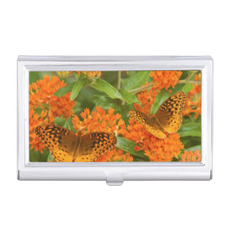 Great Spangled Fritillaries on Butterfly Milkweed Business Card Case