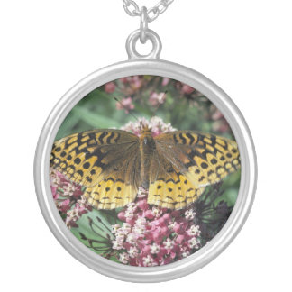 Great Spangled Fritillary Butterfly Round Pendant Necklace