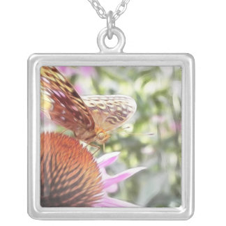 Great Spangled Fritillary Butterfly Square Pendant Necklace