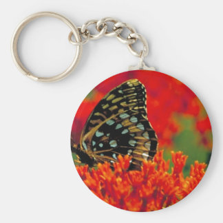 Great spangled fritillary on Butterfly weed Key Chains