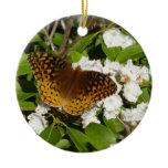 Great Spangled Fritillary on Mountain Laurel Photo Ceramic Ornament