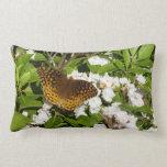 Great Spangled Fritillary on Mountain Laurel Photo Lumbar Pillow