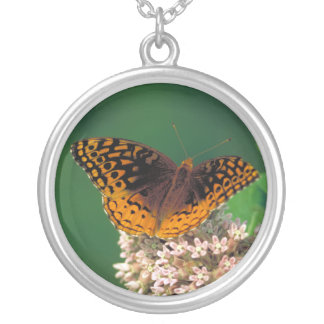 Great Spangled Fritillary Round Pendant Necklace