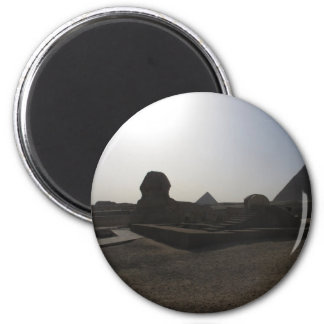 Great Sphinx and pyramid at sunset 2 Inch Round Magnet