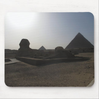 Great Sphinx and pyramid at sunset Mousepads