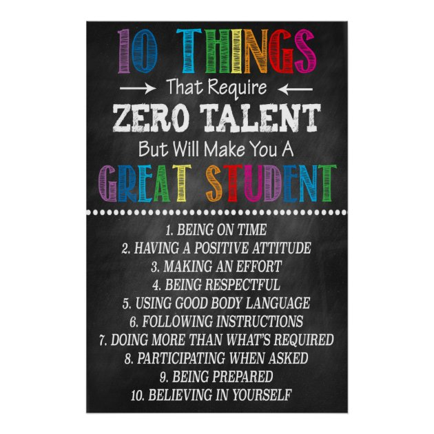 photo regarding 10 Things That Require Zero Talent Printable known as Terrific Pupil Clroom Printable Poster