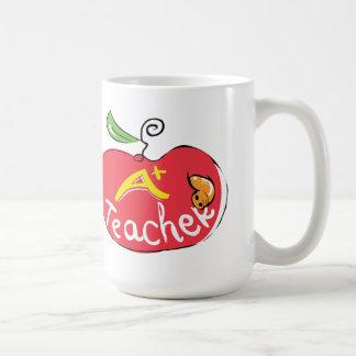 great teacher apple with worm mug