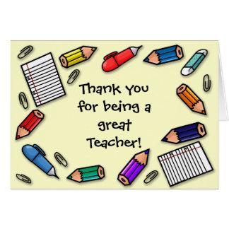 Great teacher pens and pencils customisable card