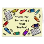 Great teacher pens and pencils customisable greeting card