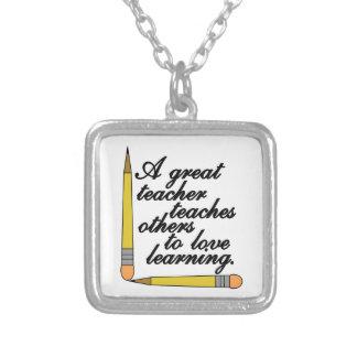 Great Teacher Square Pendant Necklace