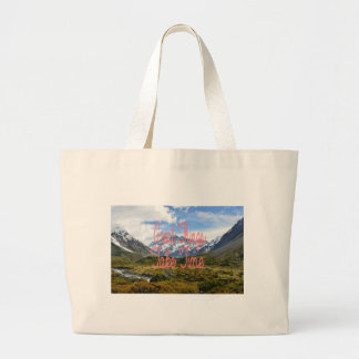 Great Things Take Time Mountains Landscape Large Tote Bag