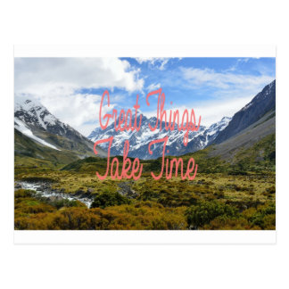 Great Things Take Time Mountains Landscape Postcard
