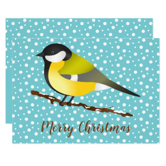 Great Tit Parus Major Bird Merry Christmas Custom Card