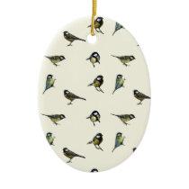Great tit pattern ceramic ornament