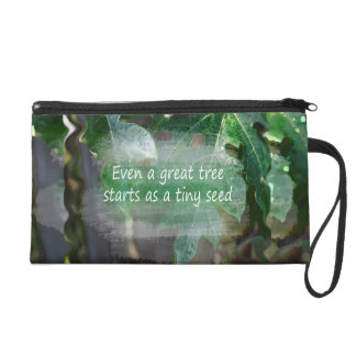 great tree starts as seed leaf background wristlet clutch