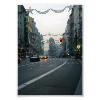 Great Via of Madrid at dusk in Christmas Photo Print