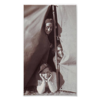 Great Vintage Photo Young Girls Camping Print