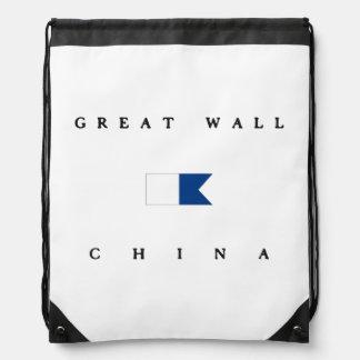 Great Wall China Alpha Dive Flag Drawstring Backpacks