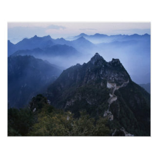 Great Wall in early morning mist, China Posters