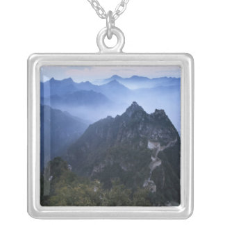 Great Wall in early morning mist, China Silver Plated Necklace