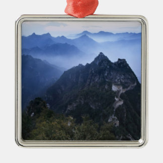 Great Wall in early morning mist, China Square Metal Christmas Ornament