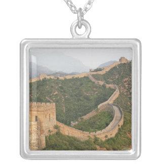 Great Wall of China at Jinshanling, China, Asia Square Pendant Necklace