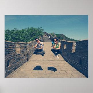 Great wall of China Beijing jumping poster