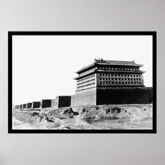 Great Wall of China in Peking 1918 Print