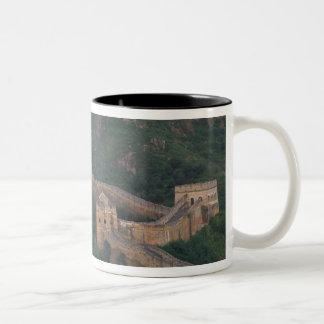 Great Wall winding through mountains. Two-Tone Coffee Mug