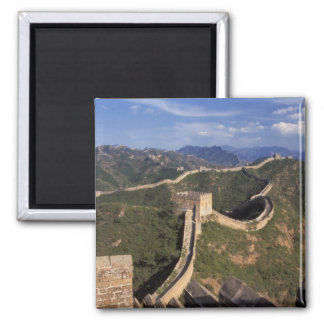 Great Wall winding through the mountain, 2 Inch Square Magnet