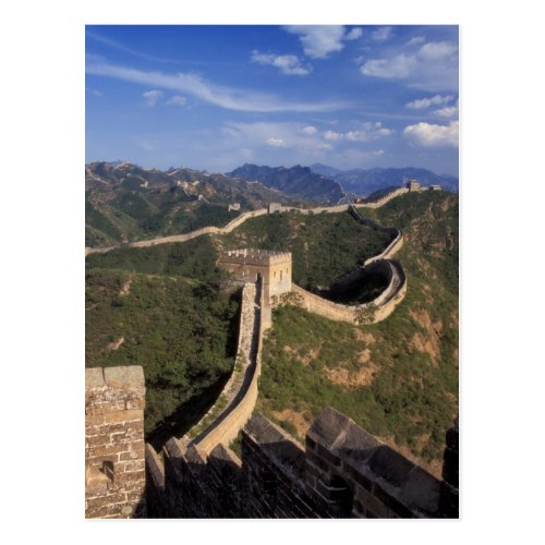 Great Wall winding through the mountain Postcard