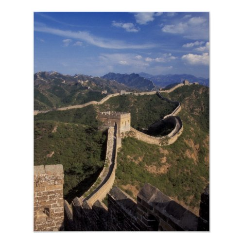 Great Wall winding through the mountain Poster