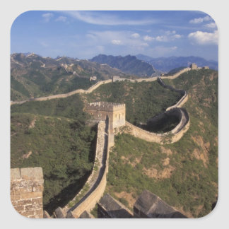 Great Wall winding through the mountain, Square Sticker