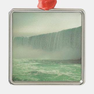 Great waterfalls square metal christmas ornament