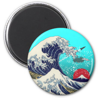 Great Wave 2 Inch Round Magnet