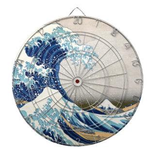 Great Wave Hokusai 葛飾北斎の神奈川沖浪裏 Dartboard With Darts