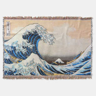 The Great Wave Print Hooded Blanket Fleece Blankets And Throws Blankets K37