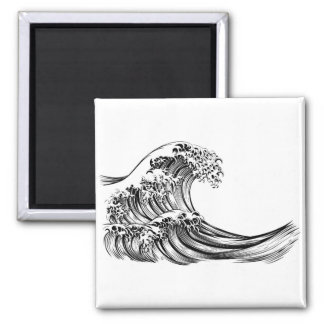 Great Wave Japanese Style Engraving Magnet