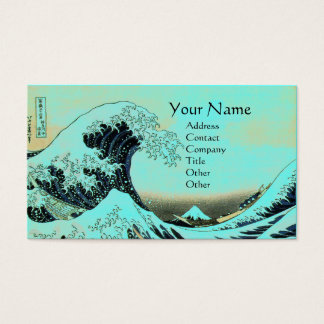 GREAT WAVE MONOGRAM Aqua Blue,Teal Business Card