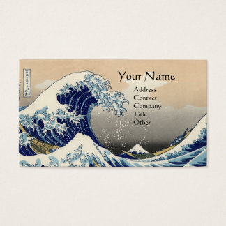 GREAT WAVE MONOGRAM Blue Business Card