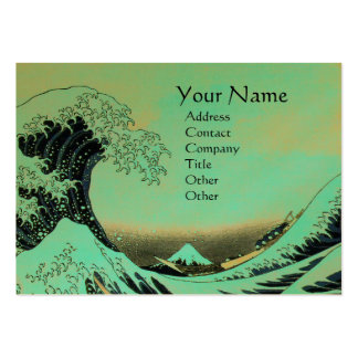 GREAT WAVE MONOGRAM Blue Green,Teal  Gold Metallic Large Business Card