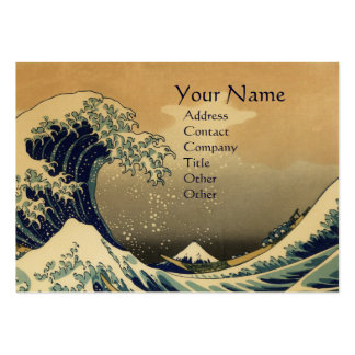 GREAT WAVE MONOGRAM  Gold  Metallic Large Business Cards (Pack Of 100)