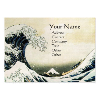 GREAT WAVE MONOGRAM  Pearl Paper Large Business Cards (Pack Of 100)