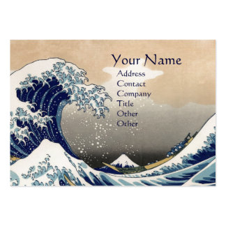 GREAT WAVE MONOGRAM  Pearl Paper Large Business Card
