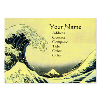 GREAT WAVE MONOGRAM Yellow Large Business Cards (Pack Of 100)