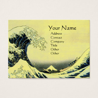 GREAT WAVE MONOGRAM Yellow Business Card