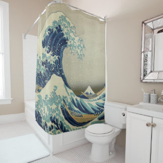 great wave off kanagawa hokusai famous wave japan shower curtain